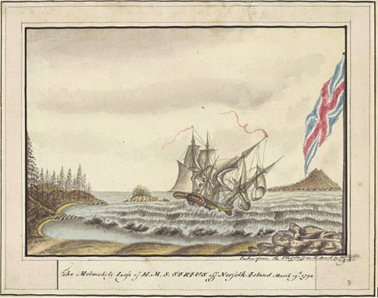 Sirius wreck on the reef at Norfolk Island 1790 NLA
