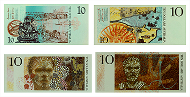 Early polymer bank notes. Courtesy National Museum of Australia
