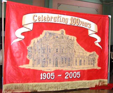 A Banner to celebrate 100 years of the Trades Hall in Broken Hill. Courtesy of Australian Broadcasting Corporation