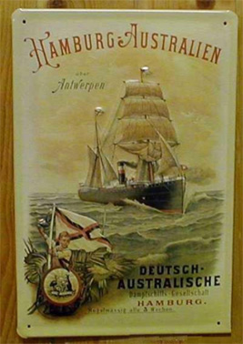 Sheet Metal Signage, 'Hamburg-Australien, Deutsch Australische Dampfschiffs Gesellschaft, c.1900, Private Collection