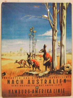 Sheet Metal Sign 'To Australia', Hamburg-America Line, c.1900, Private Collection
