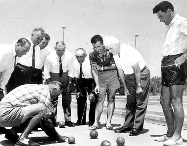 Press photograph of bocce at Catholic Club, Yoogali. Courtesy of Griffith Italian Museum