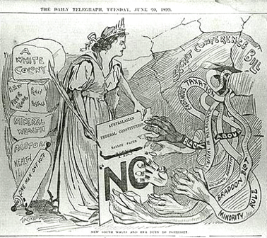 Anti Federation cartoon 1899, 'New South Wales and her duty to restrict', The Daily Telegraph June 20 1899. SLNSW