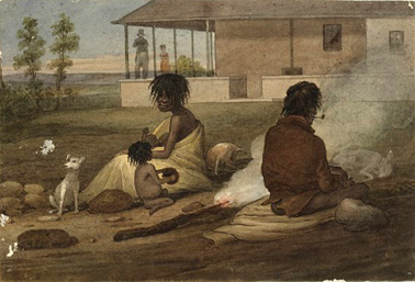 Aboriginal people camping at Glenfield House c.1826. Courtesy National Library of Australia