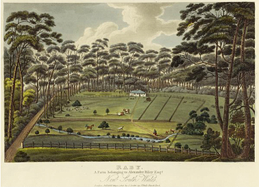Alexander Riley's farm 'Raby' near Liverpool c.1826. Courtesy National Library of Australia