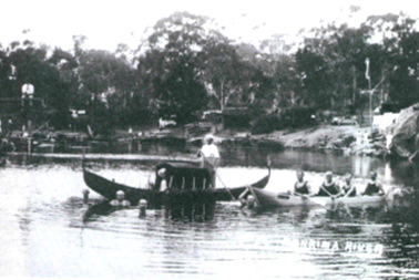 <em>Störtebeker</em> on the Berrima River c.1914- 18. The <em>Attila</em> is dressed as a gondola beside her.