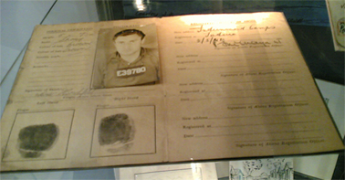 Internee Identity Card, 1941, Werner Hirschfeld Collection, Sydney Jewish Museum. Photograph Stephen Thompson