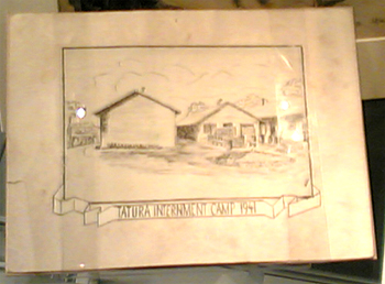 Tatura Camp drawing made by internee, 1941. Photograph Stephen Thompson