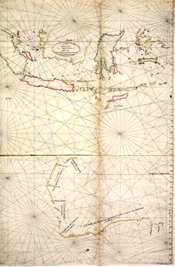 Chart of Malay Archipelago showing the western coast of Australia, Hessel Gerritsz, 1618. NLA
