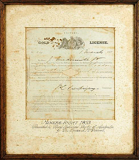 Licence for gold mining 1853. Photograph courtesy of the Powerhouse Museum