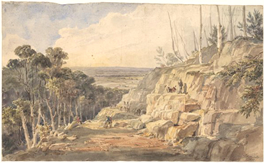Convicts building road over the Blue Mountains, N.S.W. 1833. NLA