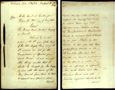 Order-in-Council ending transportation to New South Wales, 22 May 1840 SRNSW pp1-2