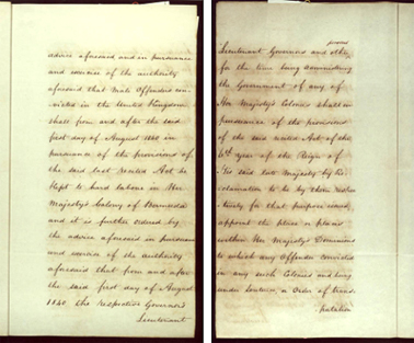 Order-in-Council ending transportation to New South Wales, 22 May 1840 SRNSW pp7-8