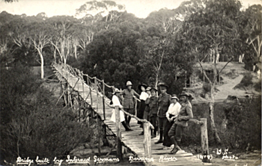 Berrima Camp guards and locals gathered on the bridge made by internees' c.1915. Paul Dubotzki Collection