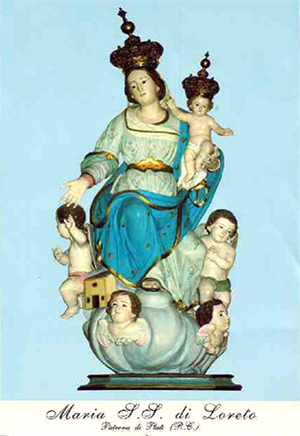 Holy Card depicting the Lady of Loreto statue in Plati. Courtesy Griffith Italian Museum
