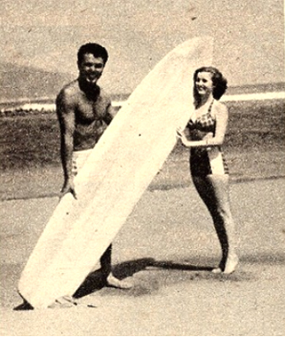 Matt Kivlin with Jean Moorehead, c.1958 Photograph courtesy surfresearch.com