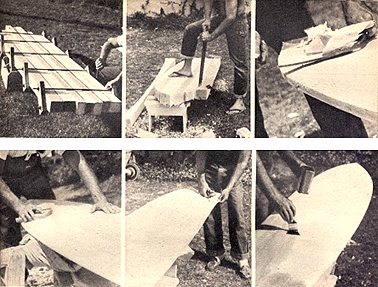 Stages of making a balsa wood Malibu surfboard as demonstrated by Matt Kivlin c.1958, photograph courtesy of surfresearch.com