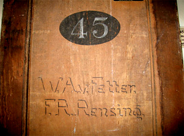Cell Door marked '45 W.A Fetter & F.R. Rensing', c.1915-18