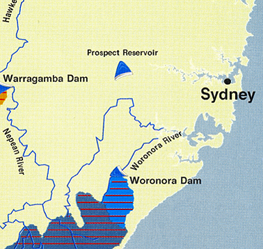 Liverpool in relation to the Prospect Reservoir supply. Courtesy Sydney Water
