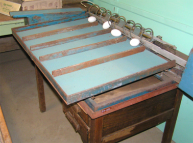 Egg sorting table c.1920 - 30s, Photograph Wollondilly Heritage Centre