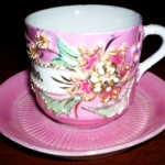 """Aunty Francesca left all her belongings when she went to meet her husband in America. I asked her if I could have one of these beautiful cups to remember her. Uncannily, it says ricordo on its side which is Italian for 'remember'."""