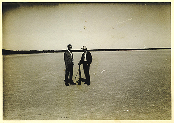 """This was taken on a hunting expedition from Woomera. We're standing on Lake Heart - a salt lake - and I'm the one with the gun, wearing a hat."""