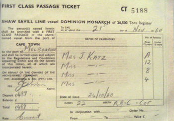 """These are the tickets for the ship that brought us from South Africa to Australia."""