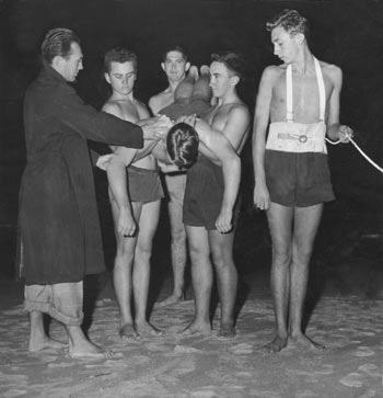 """This is a photo of me training at the North Bondi Surf Club at Bondi Beach taken for Pix Magazine in the early 1950s."""