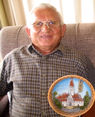 Milan (Mick) Mesic with Croatian wall plate