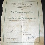 """Here's this beautiful certificate Dad had in his wallet - we didn't find out about it until after he died. It was for heroic [acts] during the liberation of Tilburg. A house was bombed and Dad rescued people trapped inside."""