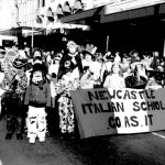 Italian students from the Newcastle Out of School Hours Program Celebrating the Festa della Republica in Sydney's CBD, NSW. Courtesy of Co.As.It.