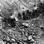 Angelo Pastega (far right) with other Italian labourers working on the construction of the northern New South Wales railway line in the early 1910s. Courtesy of the Griffith Genealogical and Historical Society