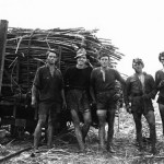 Cane-cutting was a back-braking job undertaken by many Italian migrants in both NSW and QLD. The cane-cuting gang seen here is 'taking a break' on McEvoy's farm, Innisfail, QLD September 1958. Courtesy of David Murphy