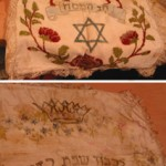 """This hand painted matzah (unleavened bread) cover for Pesach (Passover) was in my visual memory since being a little boy. My mother bought it in Munich (Germany) in 1948."""