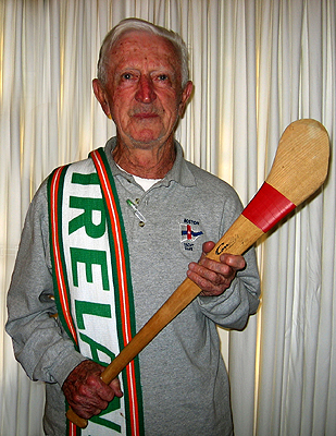 """My hurley stick is used in the Irish game of hurling. It is made of wood and is similar to a hockey stick. I brought the stick with me as a reminder of playing sport in Ireland."""