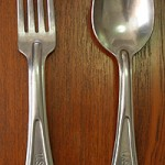 """I 'borrowed' this cutlery from the US Army on the way to Bremerhaven refugee camp as a memento of my days in Germany."""