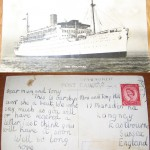 """We wrote [at] every port. This is the first [correspondence] we sent after leaving England on our journey to Australia, a postcard of the SS Strathaird, this magnificent, old P&O liner. It's to Mum and [my eldest brother] Tony. We missed them like buggery. I was only 12."""