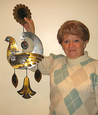 Olga Sereno with one of her copper ornaments