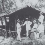 Zither players Ernst Schönfuss and Karl Pfingst rehearse at the Internees river hut Alstertal Villa c.1916. Berrima District Museum