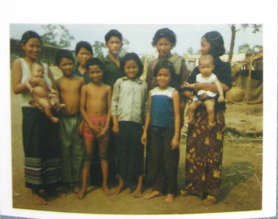 Phiny's family reunite at Khao-I Dang refugee camp, Thailand, January 1980