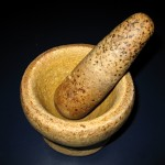 Heavy mortar and pestle. I think that very heavy but they were irreplaceable for any refugee to brought into Australia. The [weight] wasn't checked, we just pack in the bag and when we got here we use it.