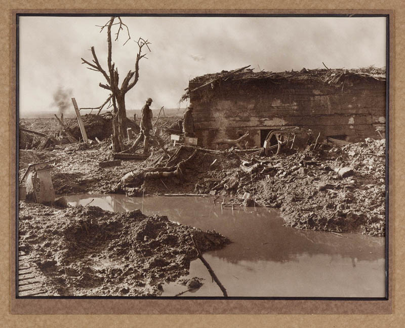 A German pill-box at Ypres France, a place that saw large Australian casualties. Pill-boxes were built of concrete with sides 1 – 2 metres thick to allow soldiers to endure bombardments. Photograph Capt. F. Hurley, August 1917- August 1918. Courtesy State Library of New South Wales