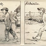 Liverpool internee cartoon, c.1915. In 1915 there was a riot over food and work details at the camp. Dubotzki collection, Germany