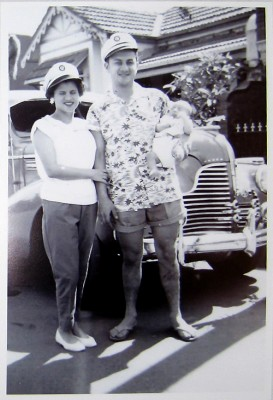 Annie and Joe Borg with newly-born son, Stephen, in front of 1940 Buick car outside their first home, Kepos St, Redfern, Sydney, Australia, 1960