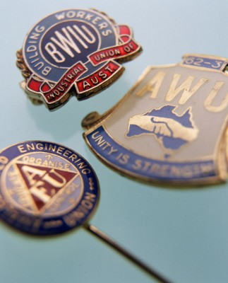Australian Workers Union and Building Workers Industrial Union badges of G Smith c.1962-3.