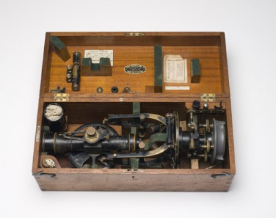 Surveyor George Davison used this Theodolite (instrument for measuring angles) to map the Snowy area before the Snowy Mountains Hydro-Electric Scheme began. Scientists studied the rocks, soil and water and decided where to build tunnels and dams. Powerhouse Museum Collection