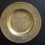 Brass plate used in temple rituals (Narrandera)