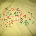 This is a sheet I made for my son which I use quite a bit. I did this embroidery when I was pregnant.